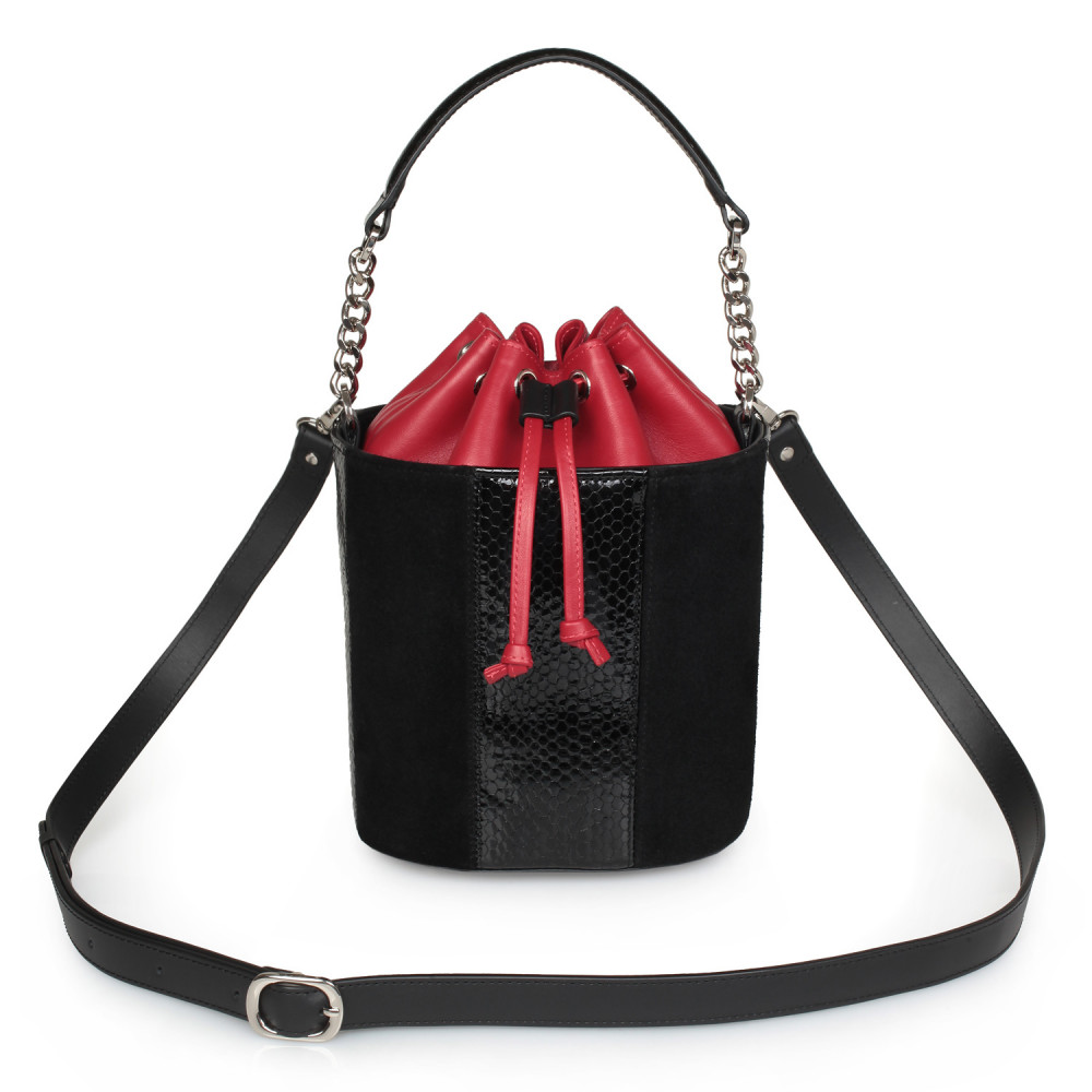 Women's leather bucket bag Alla KF-2133