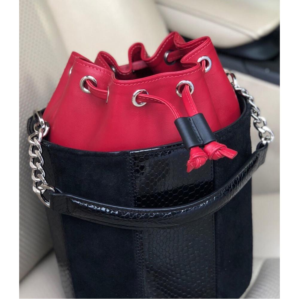 Жіноча шкіряна сумка-відро Alla KF-2133-7