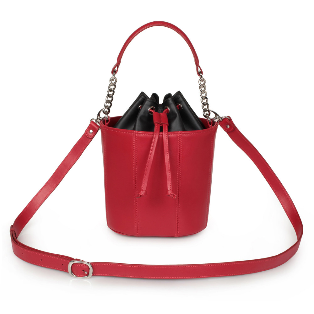 Women's leather bucket bag Alla KF-2144