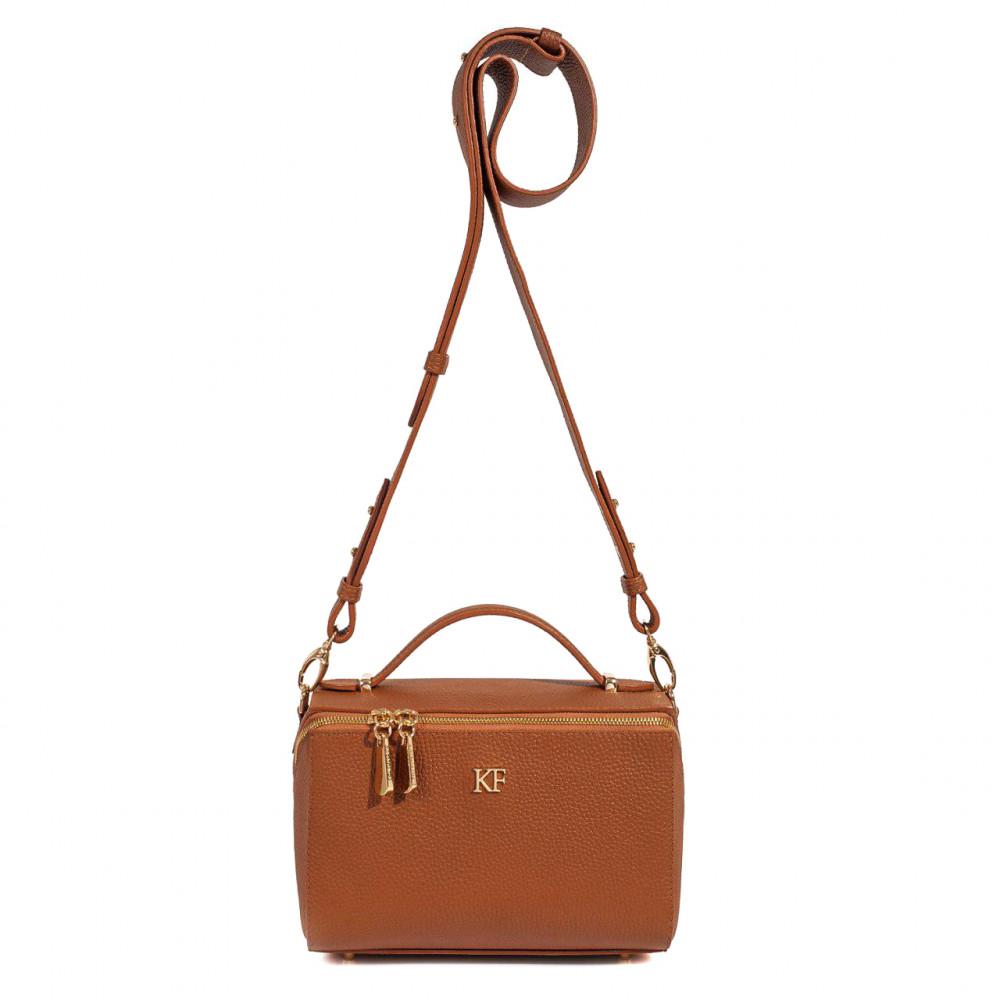 Жіноча шкіряна сумка кросс-боді на широкому ремені Kira KF-3057