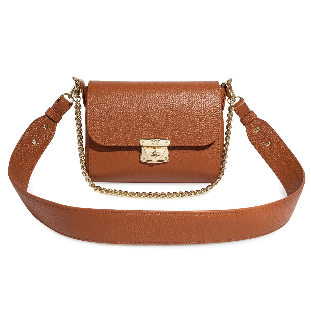 Жіноча шкіряна сумка кросс-боді на широкому ремені Prima S KF-3073