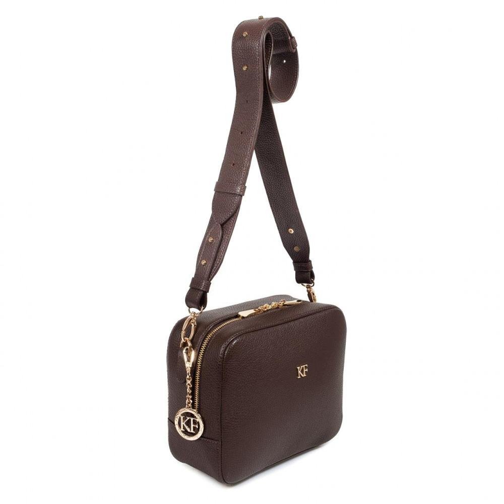 Жіноча шкіряна сумка кросс-боді на широкому ремені Tatiana M KF-3321