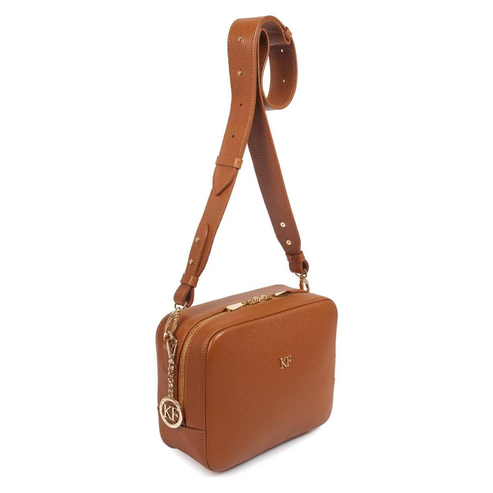 Жіноча шкіряна сумка кросс-боді на широкому ремені Tatiana M KF-3322