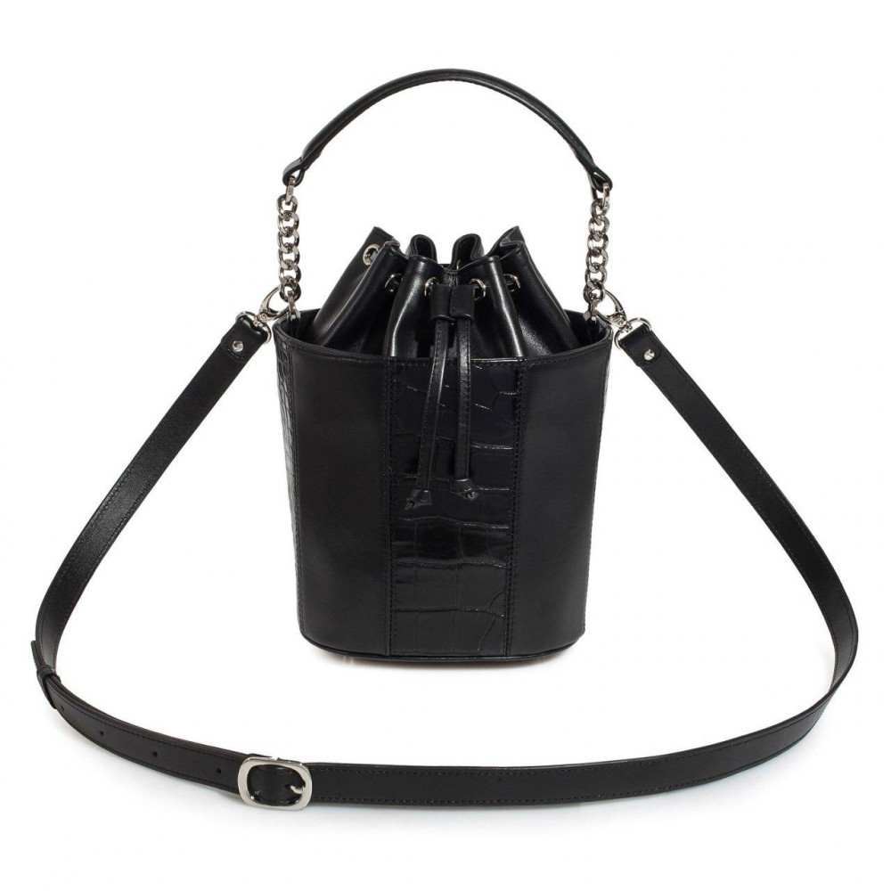 Women's leather bucket bag Alla KF-3325