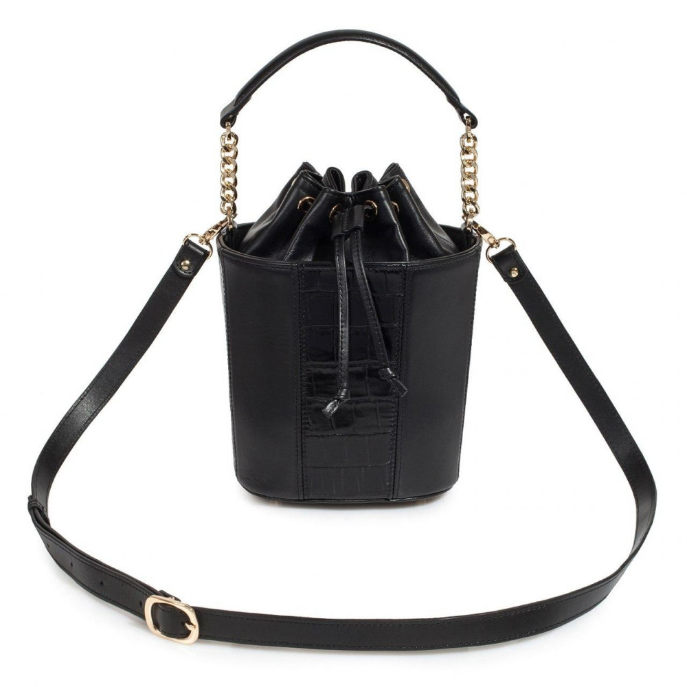 Women's leather bucket bag Alla KF-3326