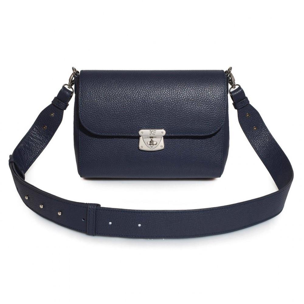 Жіноча шкіряна сумка кросс-боді на широкому ремені Prima M KF-3375