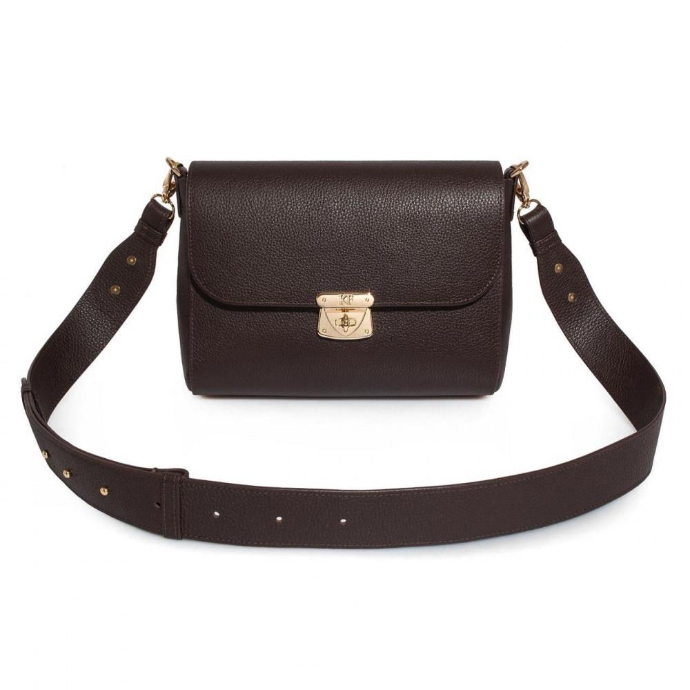 Жіноча шкіряна сумка кросс-боді на широкому ремені Prima M KF-3376
