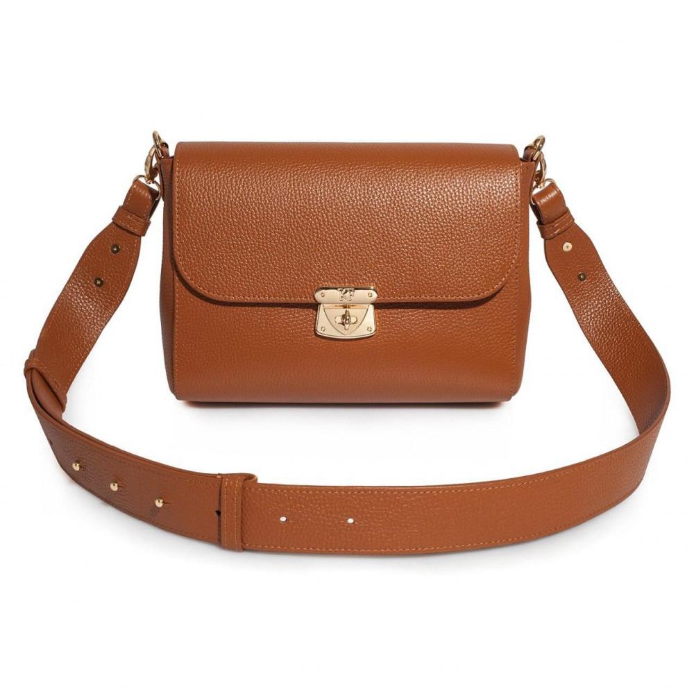 Жіноча шкіряна сумка кросс-боді на широкому ремені Prima M KF-3378