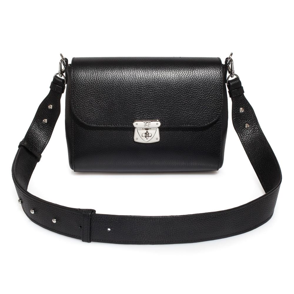 Жіноча шкіряна сумка кросс-боді на широкому ремені Prima M KF-3564-