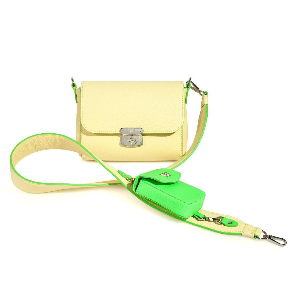 Жіноча шкіряна сумка кросс-боді на широкому ремені Prima Ann KF-3599