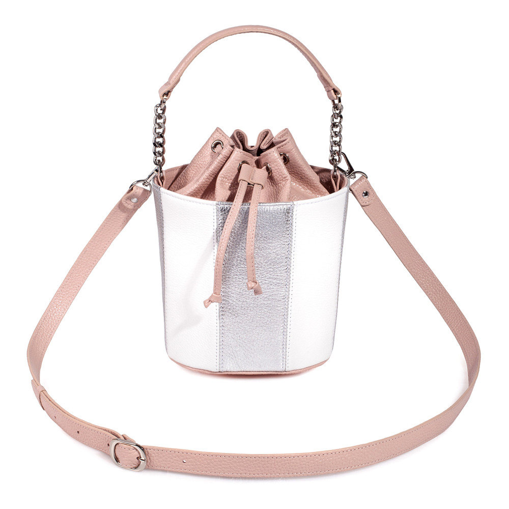 Women's leather bucket bag Alla KF-3609