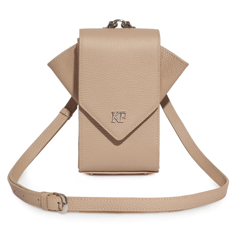 Women's leather vertical crossbody bag April KF-3622