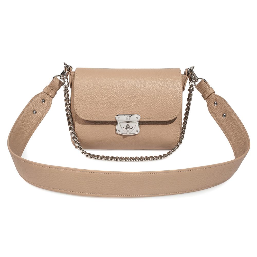 Жіноча шкіряна сумка кросс-боді на широкому ремені Prima S KF-3629