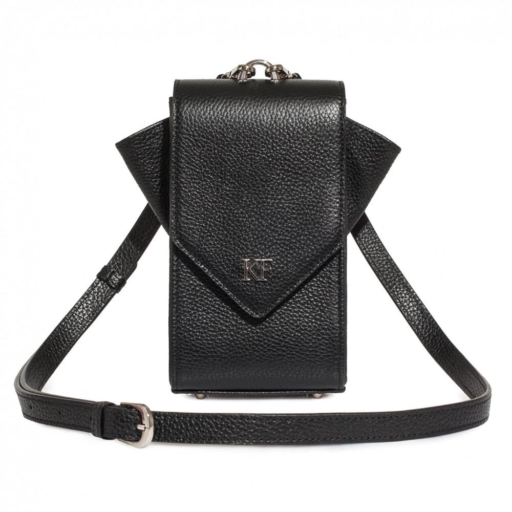 Women's leather vertical crossbody bag April KF-3633