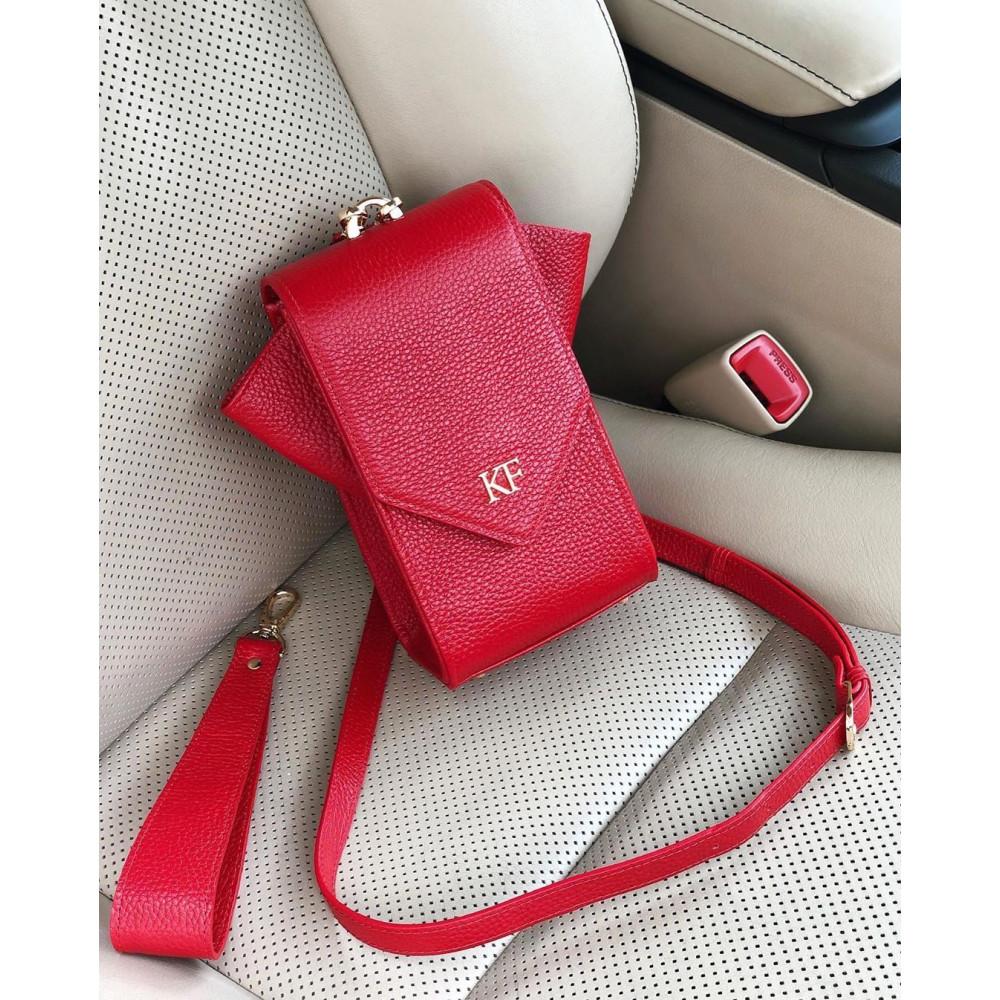 Women's leather vertical crossbody bag April KF-3638
