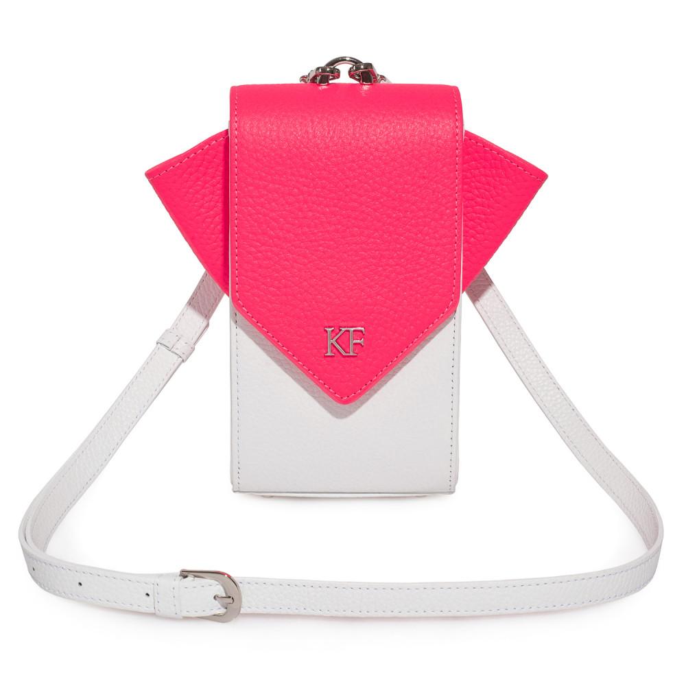 Women's leather vertical crossbody bag April KF-3664