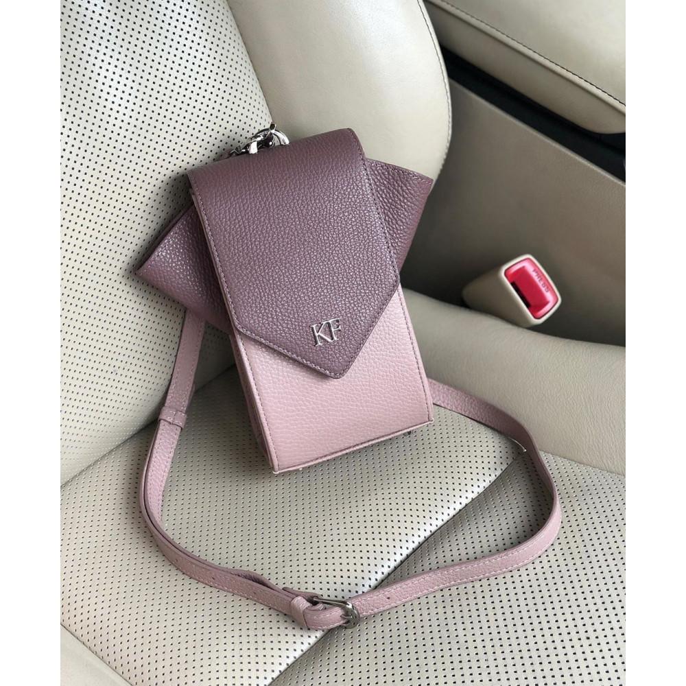 Women's leather vertical crossbody bag April KF-3665