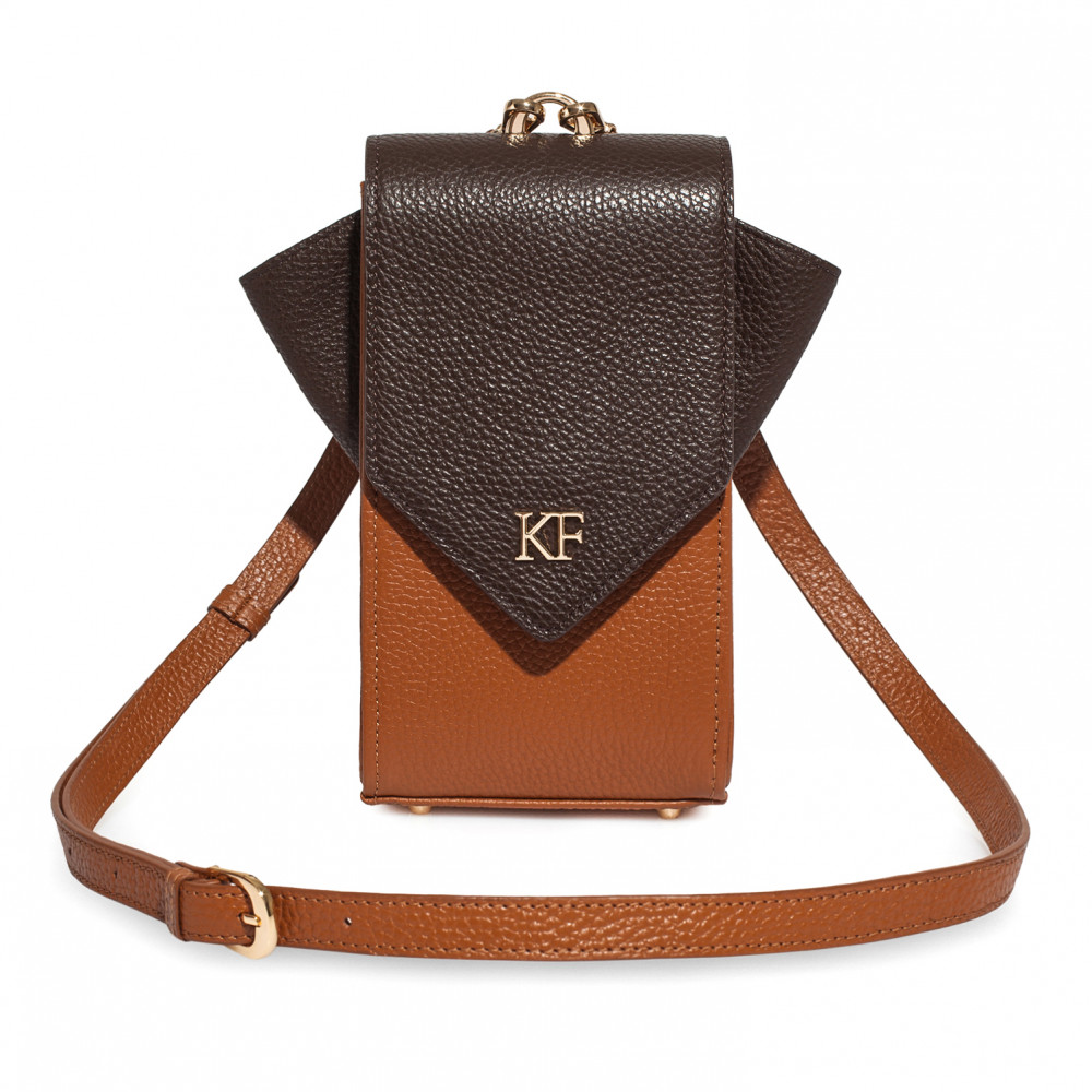 Women's leather vertical crossbody bag April KF-3666