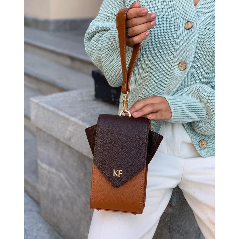 Жіноча шкіряна вертикальна сумка кросс-боді April KF-3666-7