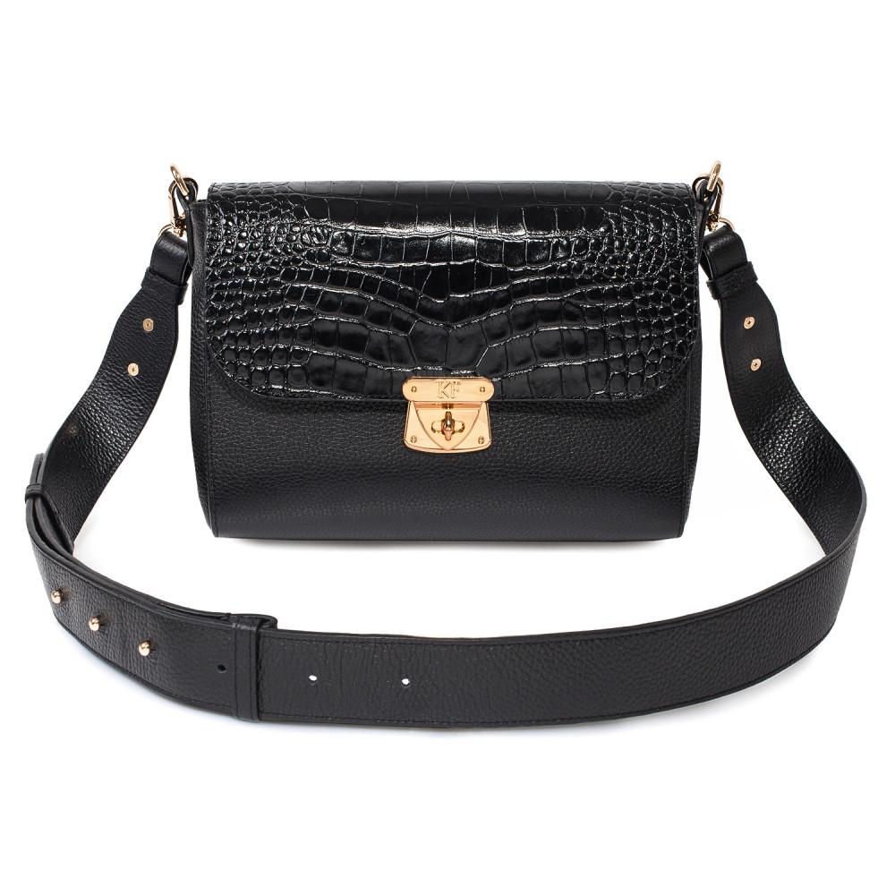 Жіноча шкіряна сумка кросс-боді на широкому ремені Prima M KF-3794
