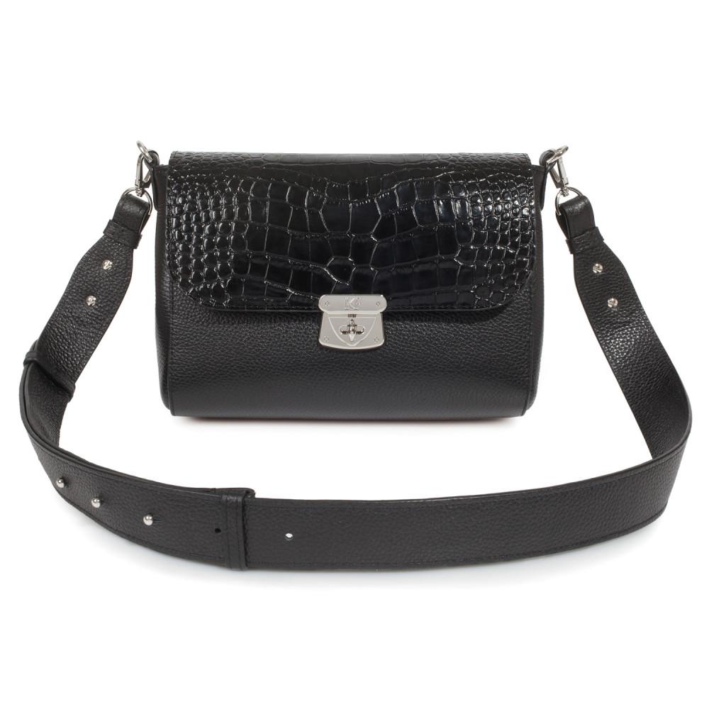 Жіноча шкіряна сумка кросс-боді на широкому ремені Prima M KF-3801-