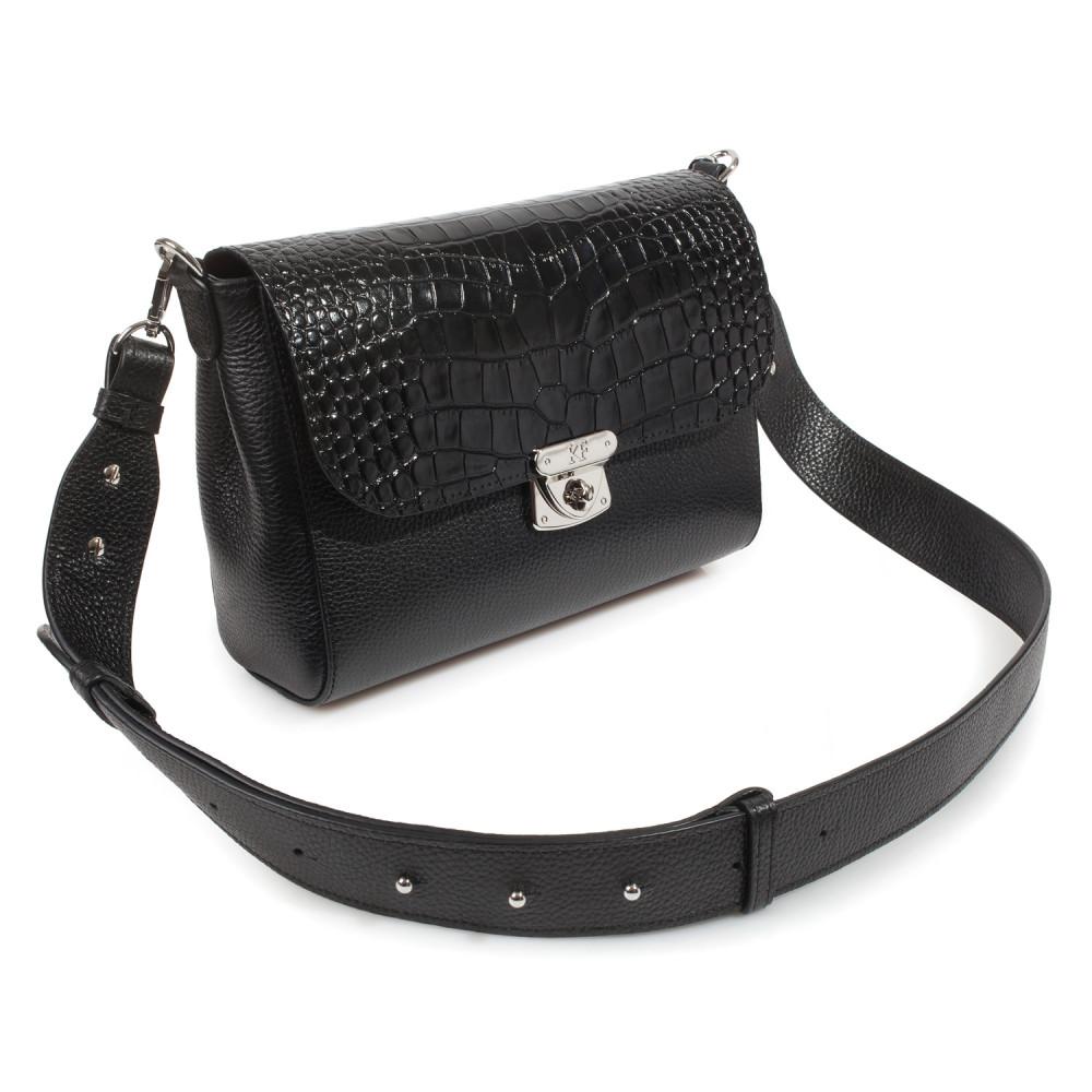 Жіноча шкіряна сумка кросс-боді на широкому ремені Prima M KF-3801-1