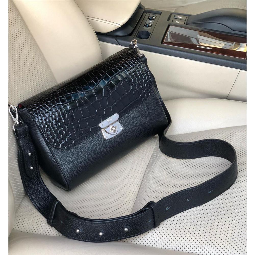 Жіноча шкіряна сумка кросс-боді на широкому ремені Prima M KF-3801-5