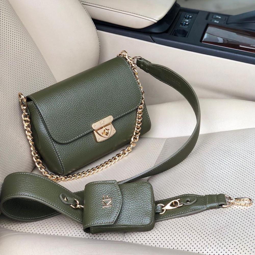 Жіноча шкіряна сумка кросс-боді на широкому ремені Prima Ann KF-3810-
