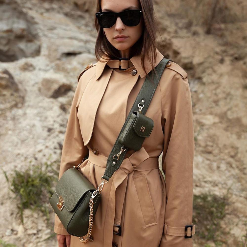 Жіноча шкіряна сумка кросс-боді на широкому ремені Prima Ann KF-3810-5