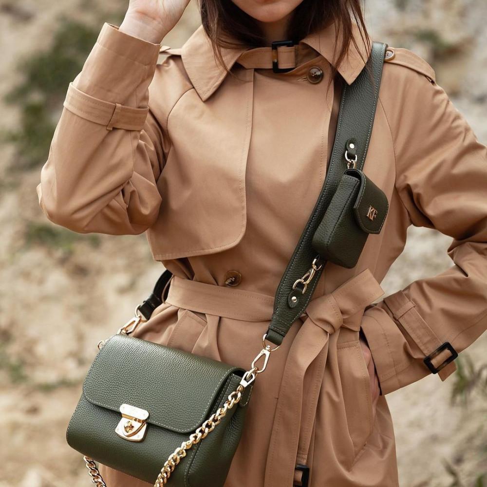 Жіноча шкіряна сумка кросс-боді на широкому ремені Prima Ann KF-3810-6