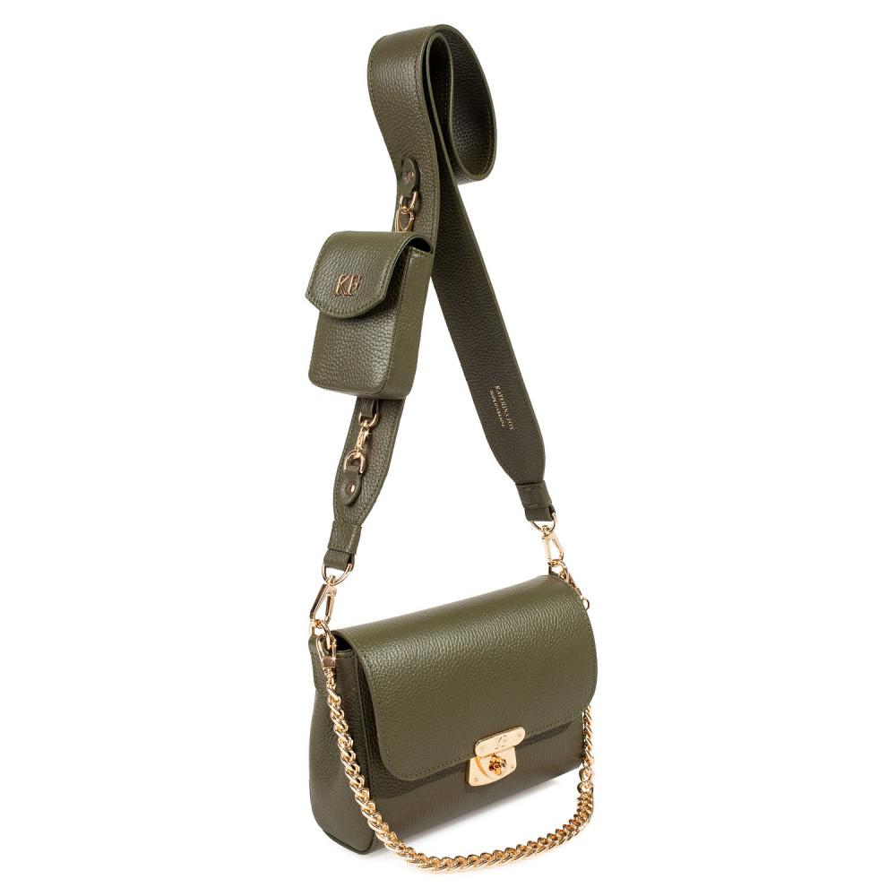 Жіноча шкіряна сумка кросс-боді на широкому ремені Prima Ann KF-3810-2