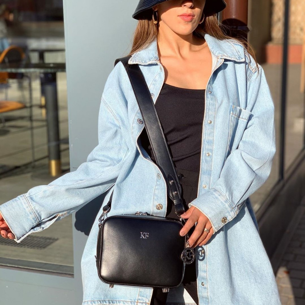 Жіноча шкіряна сумка кросс-боді на широкому ремені Tatiana KF-3847-7