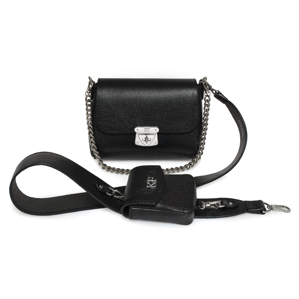 Women's leather crossbody bag on a wide strap Prima Ann KF-3854
