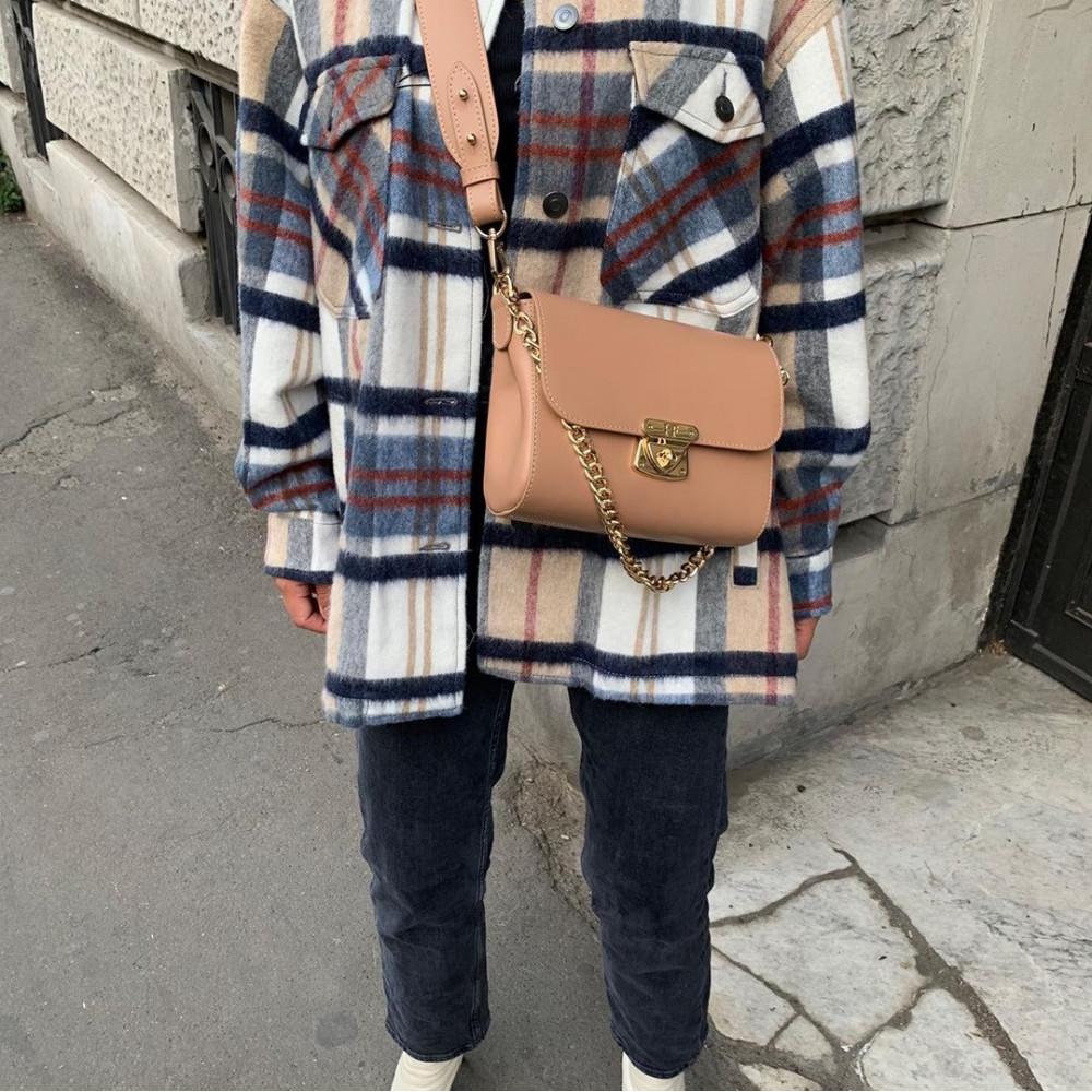 Жіноча шкіряна сумка кросс-боді на широкому ремені Prima S KF-3870-