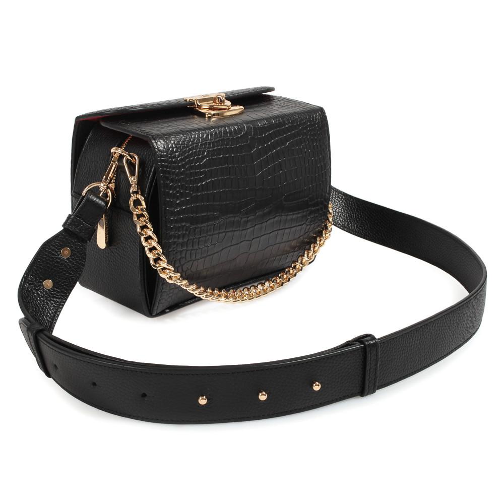 Жіноча шкіряна сумка кросс-боді на широкому ремені Angie KF-3976-