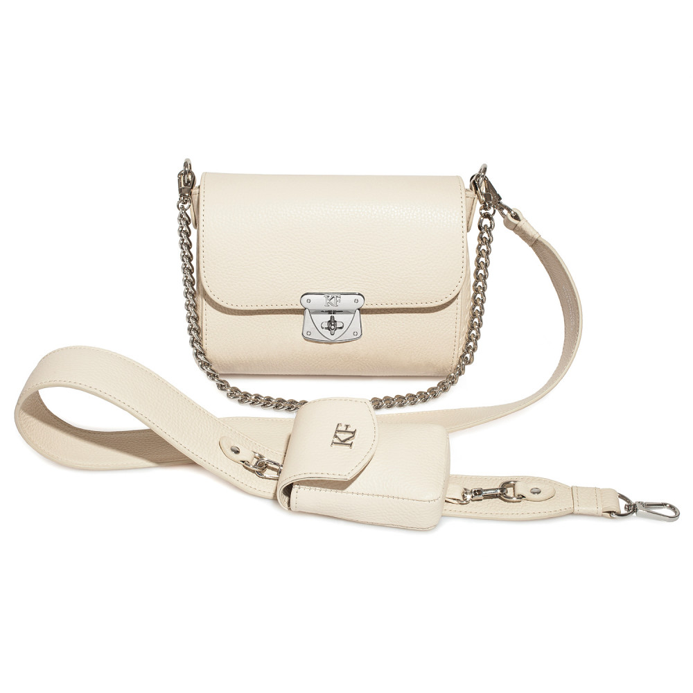 Women's leather crossbody bag on a wide strap Prima Ann KF-4000