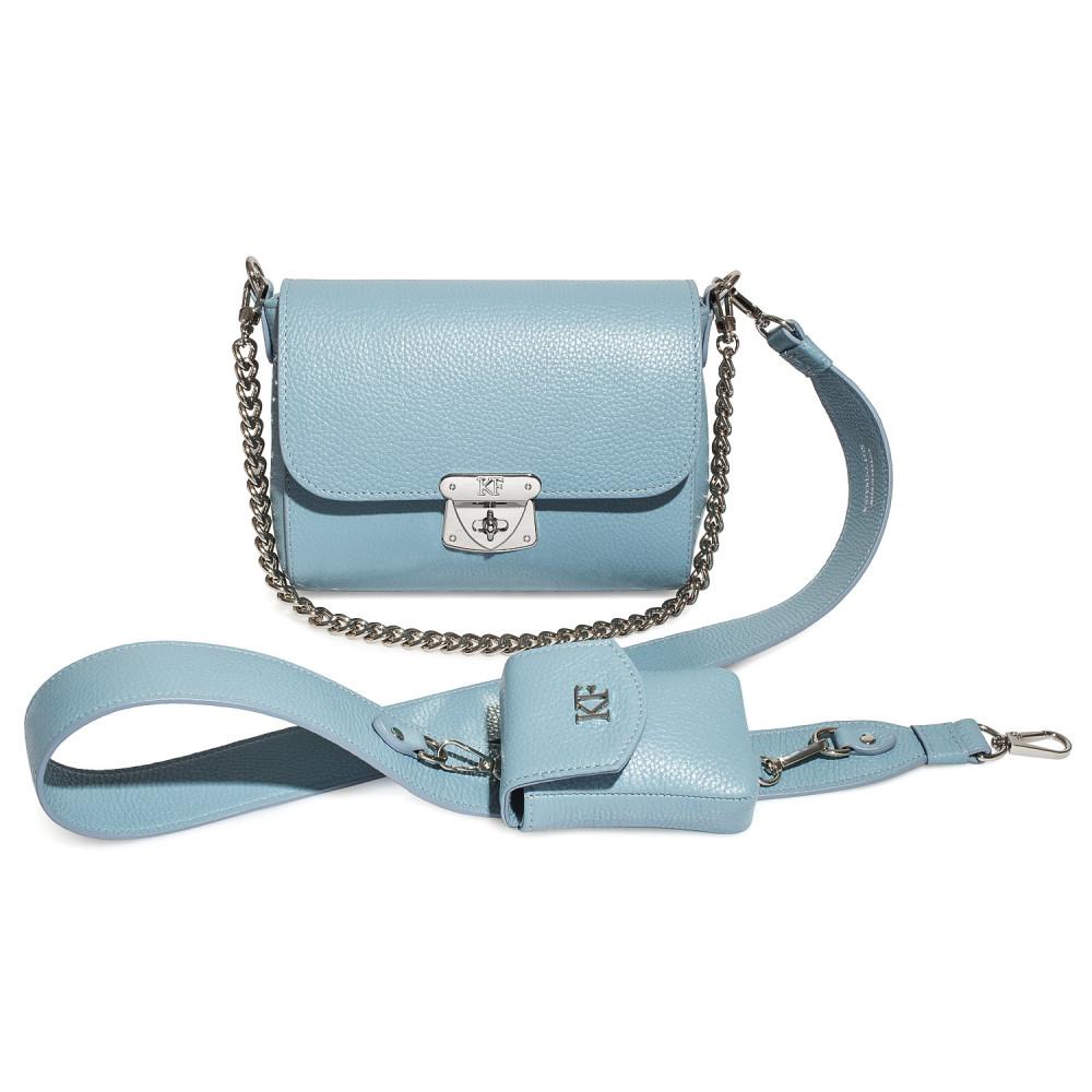 Women's leather crossbody bag on a wide strap Prima Ann KF-4128