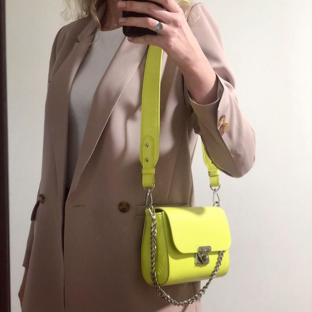 Жіноча шкіряна сумка кросс-боді на широкому ремені Prima S KF-4331-1