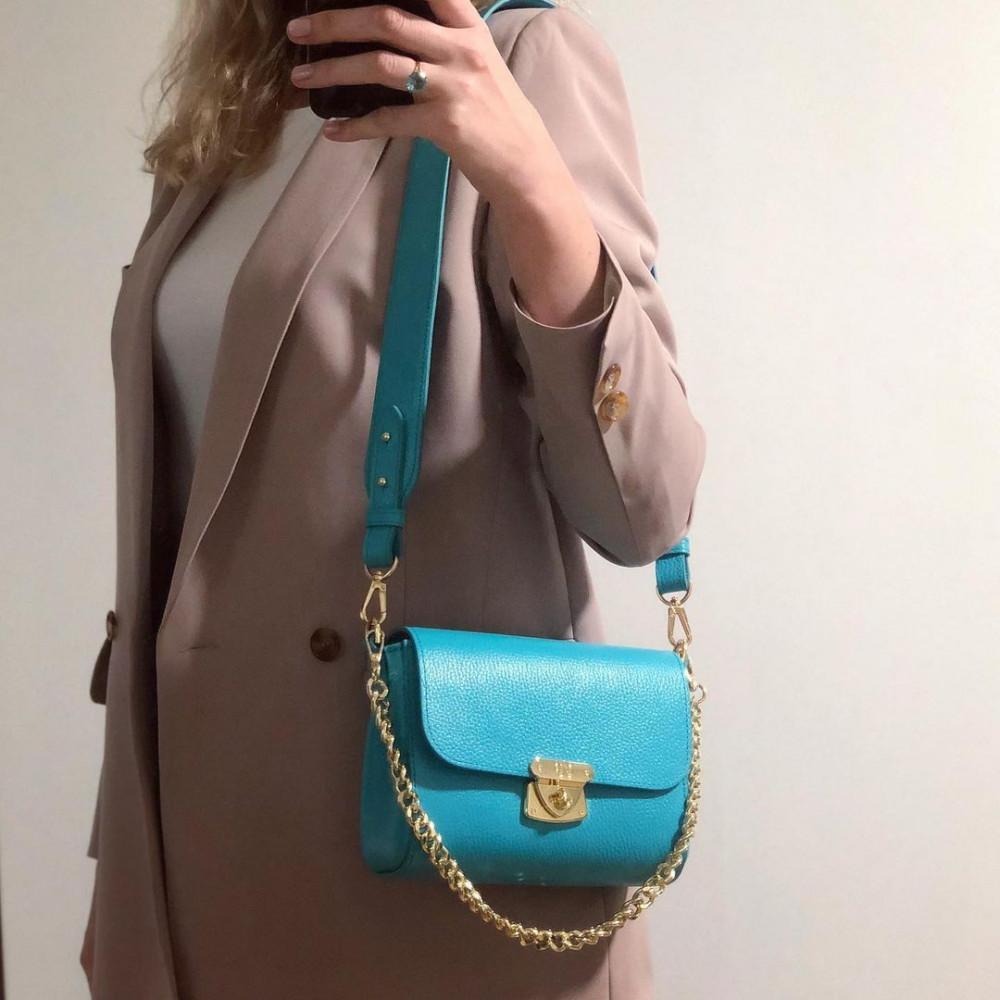 Жіноча шкіряна сумка кросс-боді на широкому ремені Prima S KF-4332-1