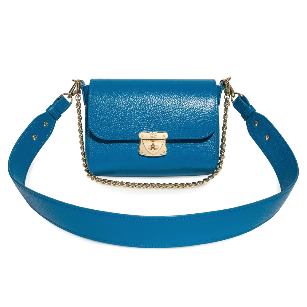 Women's leather crossbody bag on a wide strap on a wide strap Prima S KF-4577