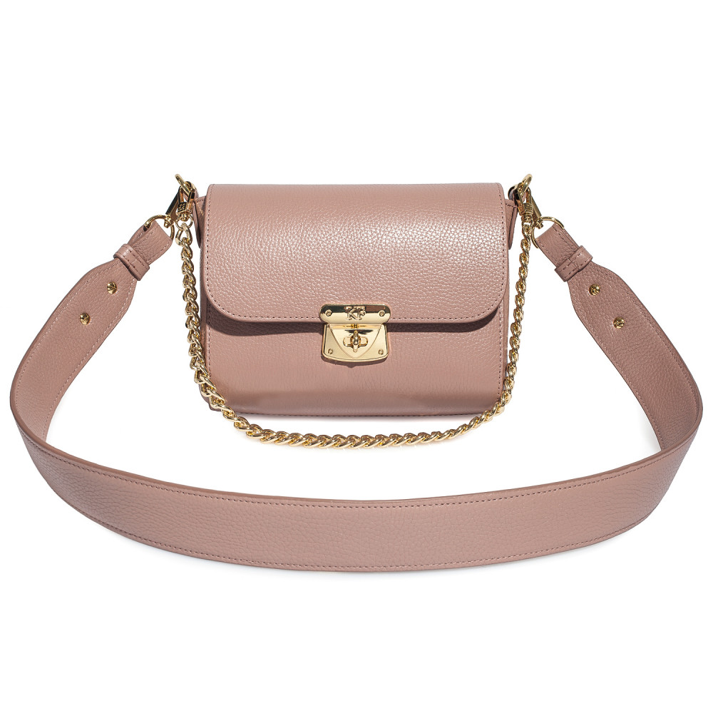 Women's leather crossbody bag on a wide strap on a wide strap Prima S KF-4591