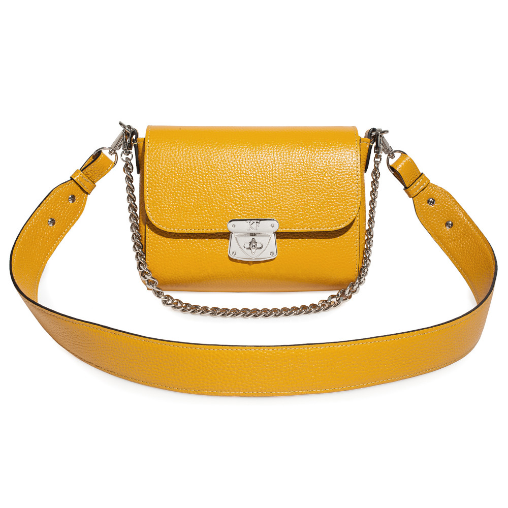 Women's leather crossbody bag on a wide strap on a wide strap Prima S KF-4597