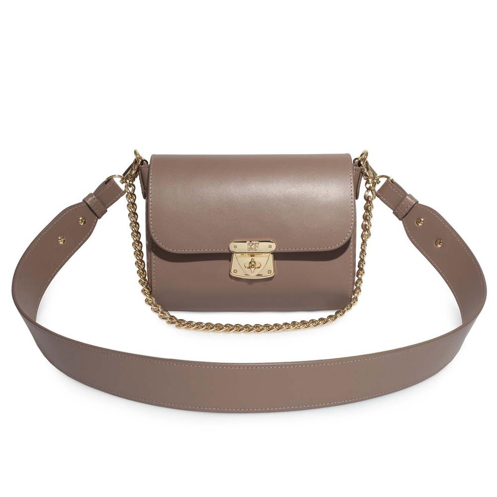 Жіноча шкіряна сумка кросс-боді на широкому ремені Prima S KF-4622-1